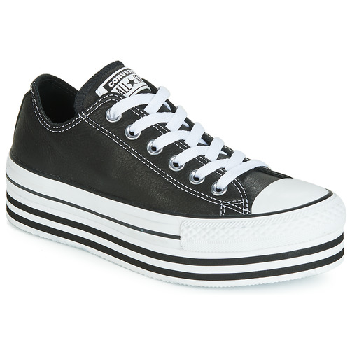 Zapatos Mujer Zapatillas bajas Converse CHUCK TAYLOR ALL STAR LAYER BOTTOM LEATHER OX Negro / Blanco / Negro