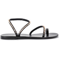 Zapatos Mujer Sandalias Ancient Greek Sandals Sandalia Apli Eleftheria Diamonds de piel negra Negro