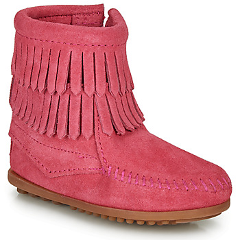 Zapatos Niña Botas de caña baja Minnetonka DOUBLE FRINGE SIDE ZIP BOOT Rosa