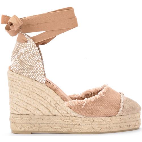 Zapatos Mujer Alpargatas Castaner Sandalia con cuña Catalina de tela y yute natural Beige