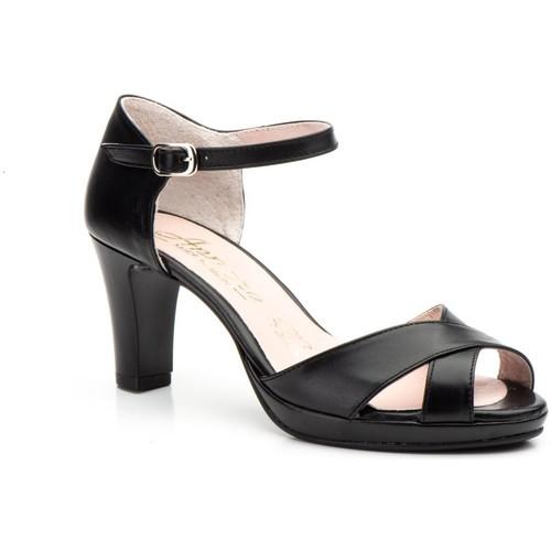 Zapatos Mujer Sandalias Annora Zapatos Zapatos de piel de mujer con tacón by Annora Noir
