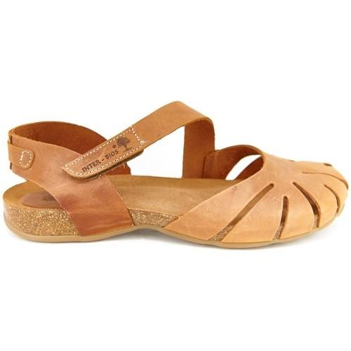 Zapatos Mujer Sandalias Interbios 4456 PIEL OURS CAMEL