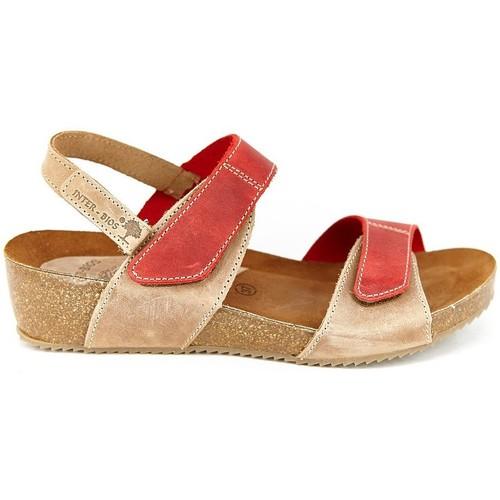 Zapatos Mujer Sandalias Interbios 5343 BEIG-ROJO BEIG