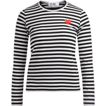 textil Mujer Camisetas manga larga Comme Des Garcons Camiseta a líneas blancas y negras Multicolor