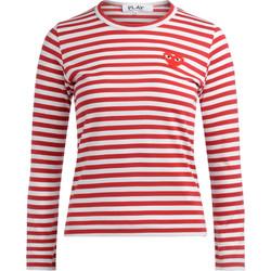 textil Mujer Camisetas manga larga Comme Des Garcons Camiseta a líneas blancas y rojas Rojo