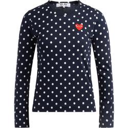 textil Mujer Camisetas manga larga Comme Des Garcons Camiseta  azul a lunares blancos Azul