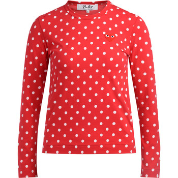 textil Mujer Camisetas manga larga Comme Des Garcons Camiseta  roja de lunares blancos Rojo