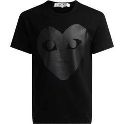 textil Hombre camisetas manga corta Comme Des Garcons Camiseta de cuello redondo de color negro, con estampa corazón Negro