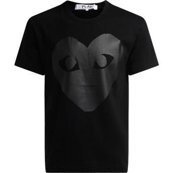 textil Hombre Camisetas manga corta Comme Des Garcons Camiseta de cuello redondo de color negro, con estampa Negro
