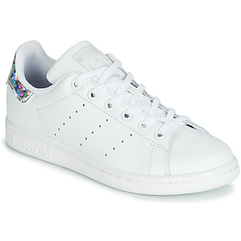 Zapatos Niña Zapatillas bajas adidas Originals STAN SMITH J Blanco / Plata