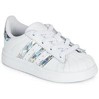 Zapatos Niña Zapatillas bajas adidas Originals SUPERSTAR EL I Blanco / Plata