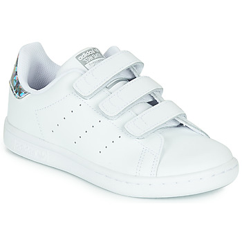 Zapatos Niña Zapatillas bajas adidas Originals STAN SMITH CF C Blanco / Plateado
