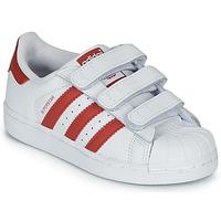 Zapatos Niños Zapatillas bajas adidas Originals SUPERSTAR CF C Blanco / Rojo