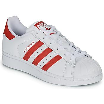 Zapatos Niños Zapatillas bajas adidas Originals SUPERSTAR J Blanco / Rojo