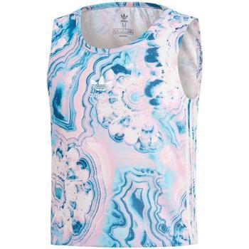 textil Niña camisetas sin mangas adidas Originals MARBLE CRP TANK Azul