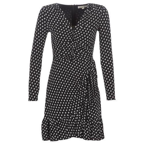 MICHAEL Michael Kors ELV DOT SHRD LS DRS Negro - Envío gratis   ! - textil vestidos cortos Mujer