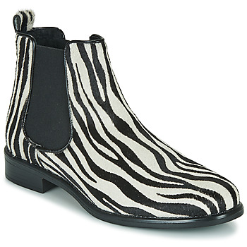 Zapatos Mujer Botas de caña baja Betty London HUGUETTE Negro / Blanco / Cebra