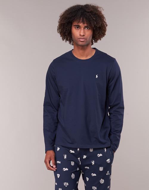 textil Hombre Camisetas manga larga Polo Ralph Lauren L/S CREW-CREW-SLEEP TOP Marino