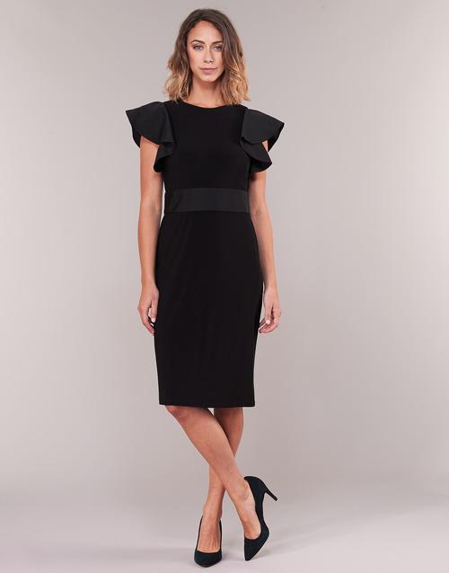 Dress Negro Mujer Cocktail Textil Vestidos Ralph Cortos Jersey Sleeveless Lauren xrCBedWo