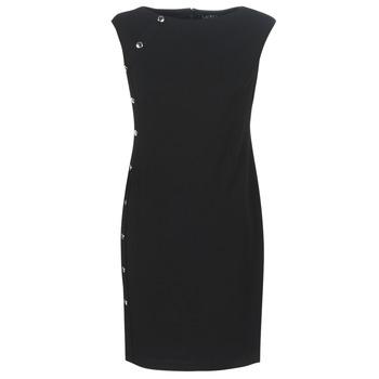 textil Mujer vestidos cortos Lauren Ralph Lauren BUTTON-TRIM CREPE DRESS Negro