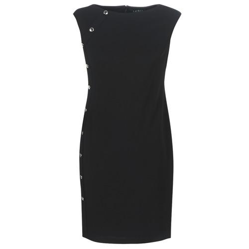 Lauren Ralph Lauren BUTTON-TRIM CREPE DRESS Negro - Envío gratis | ! - textil vestidos cortos Mujer