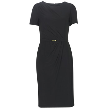 textil Mujer vestidos largos Lauren Ralph Lauren BELTED SHORT SLEEVE DRESS Negro