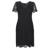textil Mujer vestidos cortos Lauren Ralph Lauren SCALLOPED LACE DRESS Negro