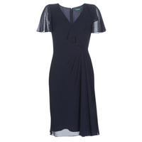 textil Mujer vestidos largos Lauren Ralph Lauren CUTLER CAP SLEEVE DAY DRESS Marino