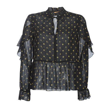 textil Mujer Tops / Blusas Maison Scotch SHEER PRINTED TOP WITH RUFFLES Negro