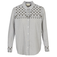textil Mujer camisas Maison Scotch BUTTON UP SHIRT WITH BANDANA PRINT Gris