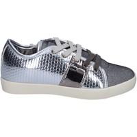 Zapatos Niña Zapatillas bajas Enrico Coveri sneakers cuero sintético textil plata
