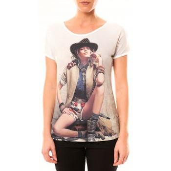 textil Mujer Camisetas manga corta By La Vitrine Top Cowboy 1103 Blanc Blanco