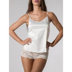 textil Mujer Pijama Luna Camisola de satén Prestigio Ivory  Splendida Amarillo