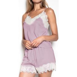 textil Mujer Pijama Admas Pijamas Suave Crepe púrpura Púrpura/naranja