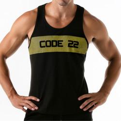 textil Hombre Camisetas sin mangas Code 22 Tanque de franjas anchas Código superior 22 Pearl Black