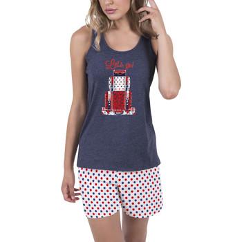 textil Mujer Pijama Admas Ropa interior de pijamas pantalones cortos camiseta tirantes Azul