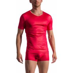 textil Hombre camisetas manga corta Olaf Benz Camiseta de manga corta con cuello en V RED 1763 Arena