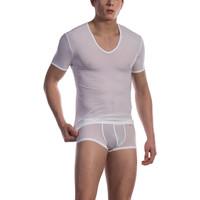 Ropa interior Hombre Camiseta interior Olaf Benz Camiseta de cuello en V ancha RED0965 Blanco
