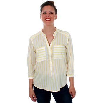 textil Mujer Camisas Vero Moda 10188642 VMERIKA STRIPE 3/4 SHIRT E10 COLOR SNOW WHITE YARROW Amarillo
