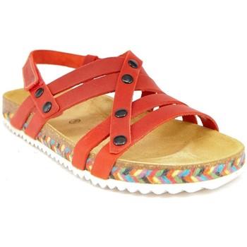 Zapatos Mujer Sandalias Interbios 7200-TRENZA ROJA ROJO