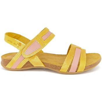 Zapatos Mujer Sandalias Interbios 5656 MOSTAZA-SALMON ROSA