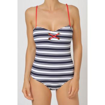 textil Mujer Bañador Admas Una camiseta de una pieza a rayas la Marina Azul Marine