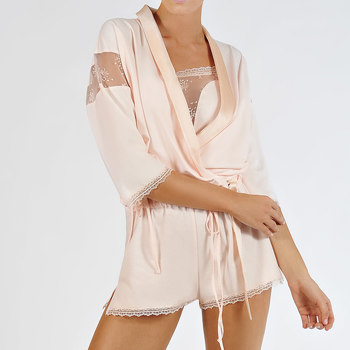 textil Mujer Pijama Lisca Chaqueta bolero  en flor Rosa Pálido Poudré
