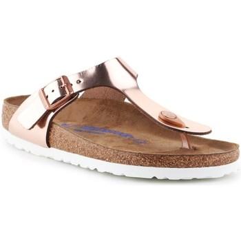 Zapatos Mujer Chanclas Birkenstock Gizeh BS Dorado, Beige