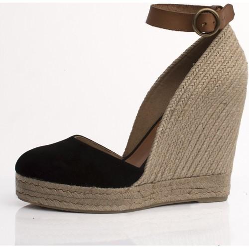 Zapatos Mujer Sandalias Mtbali Sandalia Alpargata con cuña, Mujer - Modelo Altea Noir negro