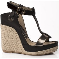 Zapatos Mujer Alpargatas Mtbali Sandalia Alpargata con cuña, Mujer - Modelo Nor Noir negro