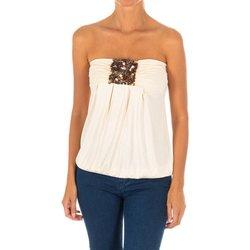 textil Mujer camisas Met Camiseta sin Mangas Top Beige