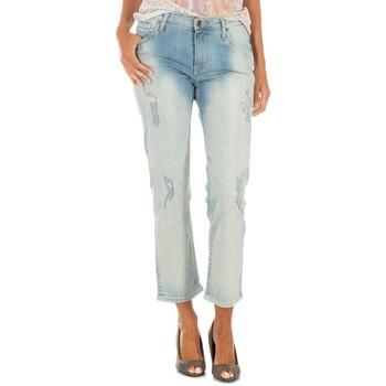 textil Mujer vaqueros rectos Met Pantalon Tejano Largo Azul claro