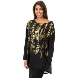 textil Mujer túnicas Met Camiseta manga larga Negro