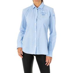textil Mujer camisas La Martina Camisa manga larga Azul-blanco